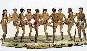 Dance of the Caroline Islanders, plate 22 from 'Le Costume Ancien et Moderne' by Jules Ferrario, pub