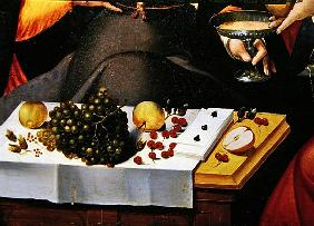 Scene Galante at the Gates of Paris, detail of fruits, playing cards and a goblet (detail of 216104)
