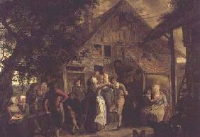 Villagers Merrymaking outside a Farmhouse