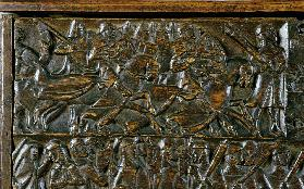 The Courtrai Chest depicting two scenes from the Battle of the Golden Spurs fought in Courtrai in 13