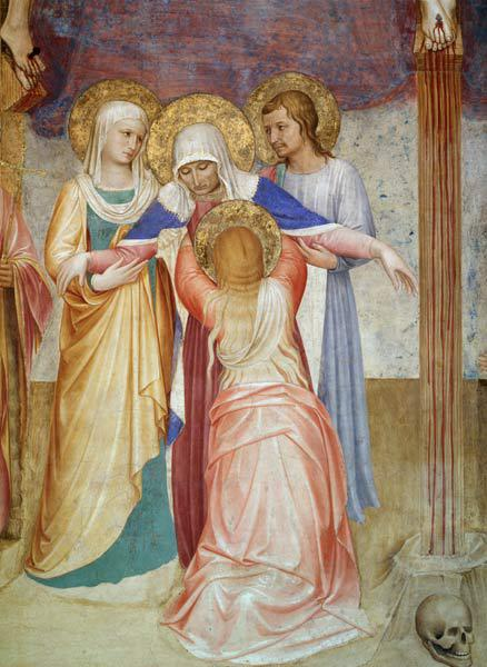 The Crucifixion, detail of the Virgin and attendants from the Chapter House