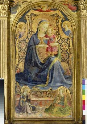 Maria with the Jesuskind sitting enthroned, of angels surround