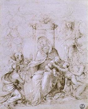 Madonna and Child enthroned with St. John the Baptist presented by an angel and St. Monica (pen and