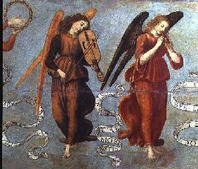 Angels playing the fiddle and pipe