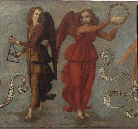 Angels playing the tambourine and triangle