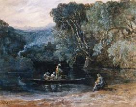 River scene with boat and figures