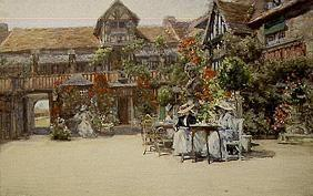 Dives-sur Mer (Normandy) in the inner courtyard of the inn Wilhelm of the conquerors