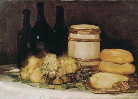 Quiet life with fruits, bottles and breads