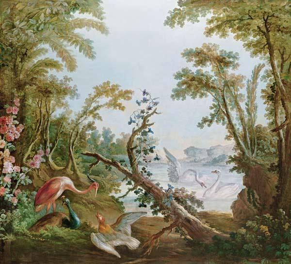 Lake with swans, a flamingo and various birds, from the salon of Gilles Demarteau
