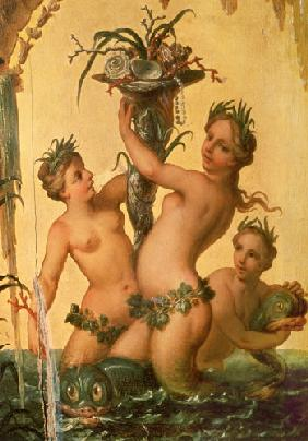 Detail of sirens holding a cornucopia from the State Carriage of Peter the Great