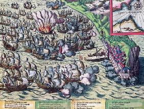 Fighting off the Coast of Gibraltar, printed on 25th May 1607 (coloured engraving)