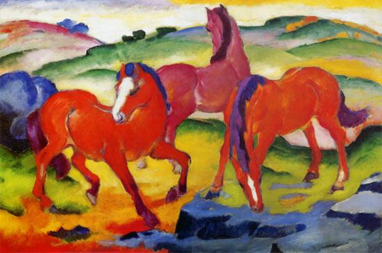 Cavalli rossi - quadro di Franz Marc
