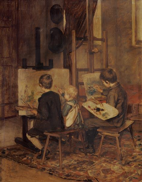 Franzl, Hansl and Friedl when painting at the easel.