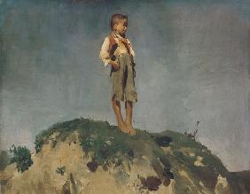Shepherd boy on a grass hill