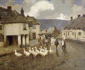 A flock of goose in front of the Greyhound Pub at Corfe Castle, Dorset