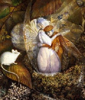 Fairy Lovers in a Bird's Nest Watching a White Mouse, c.1860