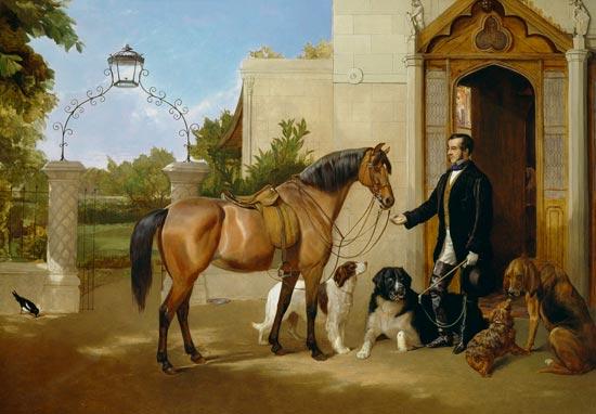 Uomo con cavallo e cani da caccia davanti alla porta - quadro di ...