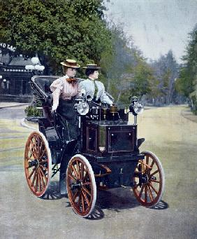 A petrol-powered Panhard Levassor Phaeton with starting handle, 1896 (coloured b/w photo)