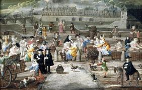 Bread and Poultry Market on Quai des Grands Augustins, painted for a fan