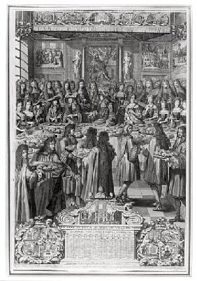 Dinner of Louis XIV (1638-1715) at the Hotel de ville, 30th January 1687, from Calendar of the year