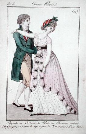 Elegant Couple Dancing the Waltz, from ''Costume Parisien''