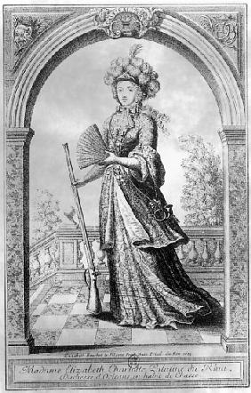Elizabeth Charlotte of the Palatinate, Duchess of Orleans, in hunting costume