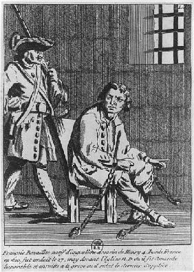 Francois Ravaillac, the assassin of King Henri IV, in prison