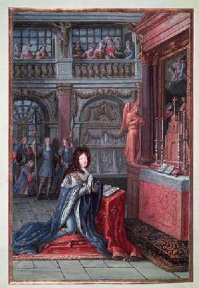 Frontispiece of the ''Hours of Louis XIV'' depicting Louis XIV (1638-1715) at Prayer
