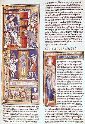 Ms 1 fol.284r Esther and Ahasuerus and the Hanging of Haman, from the Souvigny Bible