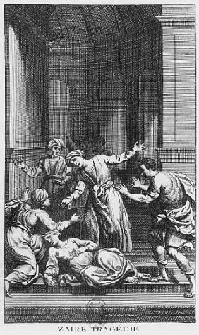 Orosmane killing Zaire, illustration from Act V of ''Zaire'' by Voltaire (1694-1778)