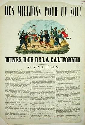 Poster advertising the gold mines in California