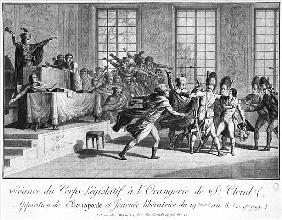 Session of the Legislative body at St.Cloud''s Orangery, arrival of Bonaparte (1769-1821) Protected