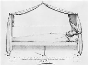 Sketch of Napoleon I (1769-1821) on his deathbed drawn at St. Helena Capitaine Marryal; engraved by