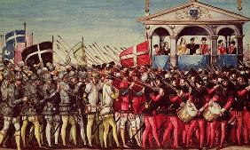 The Cortege of Drummers and Soldiers at the Royal Entry Festival of Henri II (1519-59) into Rouen, 1