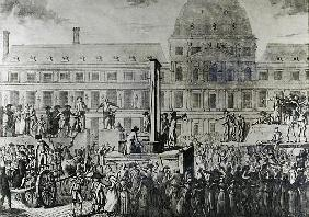 The First Execution Guillotine, Place du Carrousel, 13th August 1792
