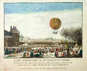 The Flight of Jacques Charles (1746-1823) and Nicholas Robert (1761-1828) from the Jardin des Tuiler