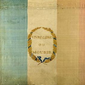 Tricolore with the motto ''Live Free or Die'', 1792 (painted fabric)