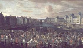 View of the Pont Neuf and the Chateau du Louvre with the Royal Carriage Passing in the Foreground