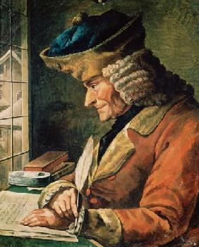 Voltaire (1694-1778) in his Study