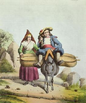 Cheese sellers from the Tarbes region, c.1840 (colour engraving)