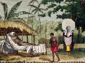 Funeral and mourning rites in Tahiti, 1811 (coloured engraving)