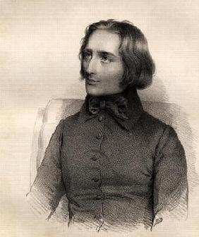 Portrait of Franz Liszt (1811-86) Hungarian piano virtuoso and composer (engraving)
