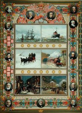 Progress during the reign of Queen Victoria (1819-1901). Sailing ships, steam ships, steam train and
