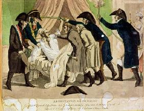 The Arrest of General Charles Pichegru (1761-1804) early 19th century (coloured engraving)