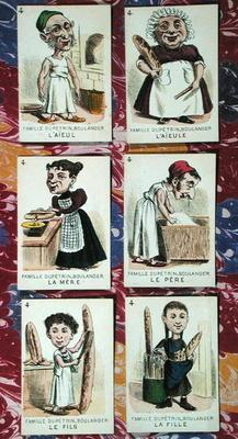 The Baker family from a 'Jeu des Sept Familles', mid 19th century (colour litho)