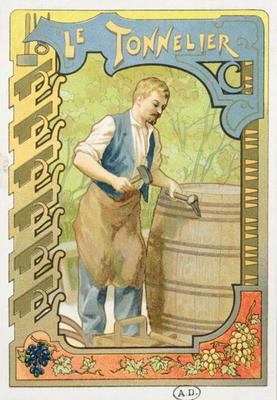 The Cooper, illustration from a book on the crafts, c.1899 (colour litho)