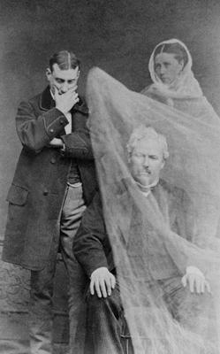 The ghost of a man's wife appears before him, c.1870 (b/w photo)