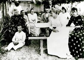 The Monet and Hoschede families, c.1880 (b/w photo)