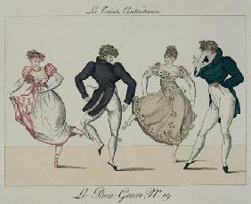 The 'Trenis' Quadrille, plate 19 from 'Le Bon Genre', 1805 (coloured engraving)