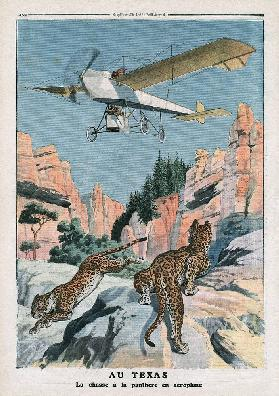 Hunting panthers from an airplane in Texas, illustration from ''Le Petit Journal'', supplement illus